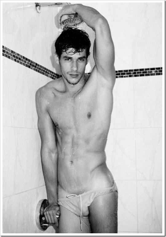 hot gay boy in a speedo in the shower