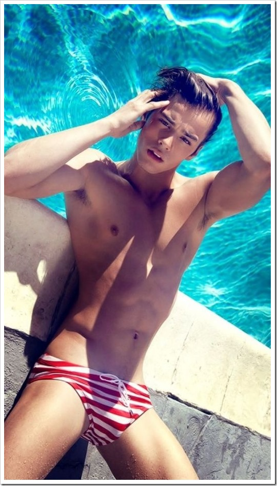 Poolside With Scott in Striped Swim Briefs