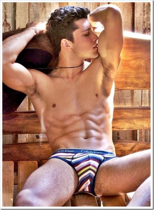 Hot muscle boy in Striped Calvin Klein Briefs