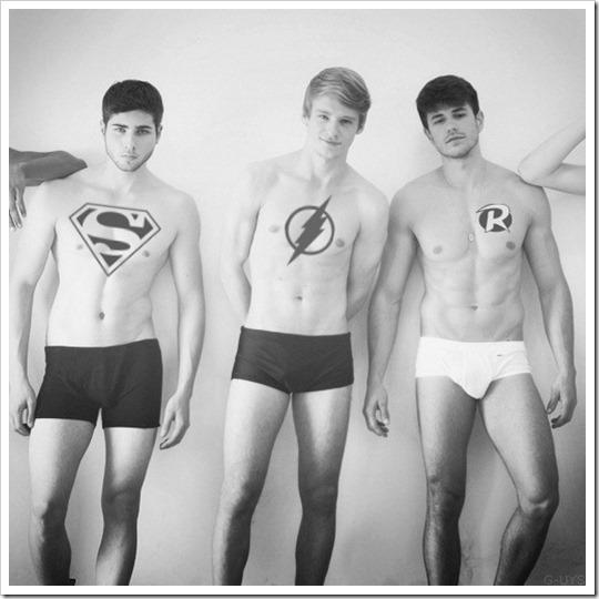 Hot boys in underwear as super heroes