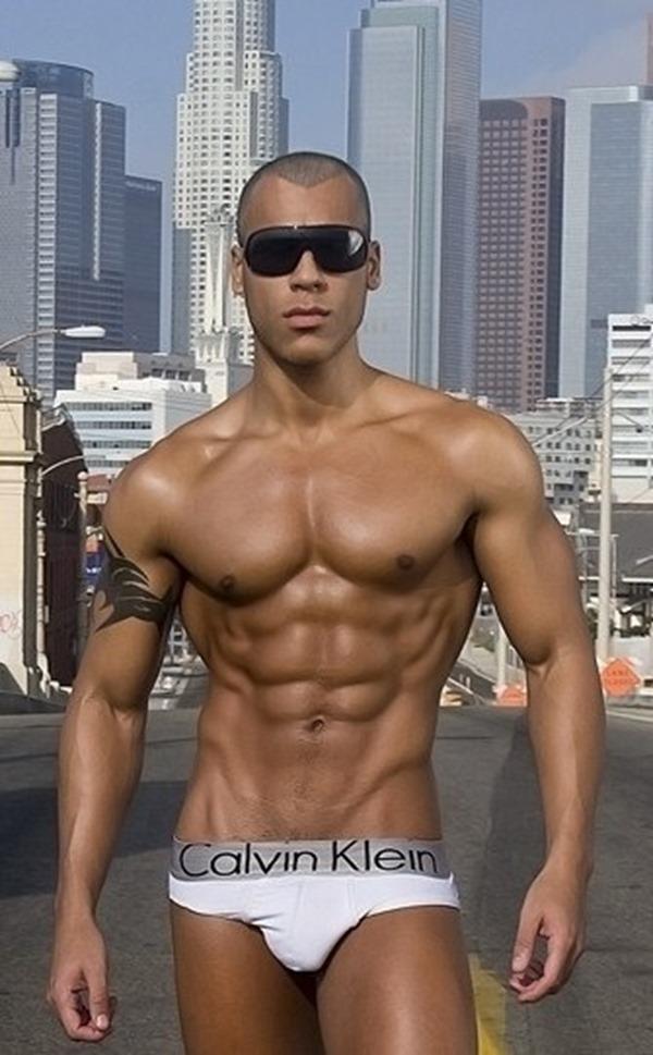 Bronze Muscle Stud in Calvin Klein Briefs